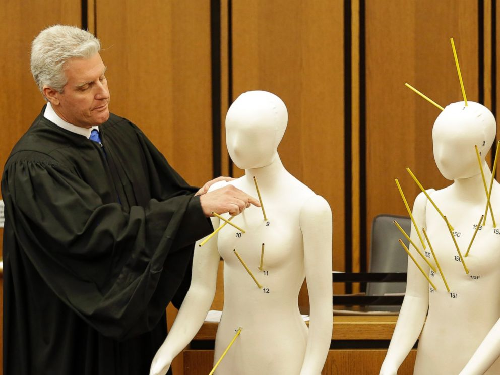 PHOTO: County Common Pleas Court Judge John ODonnell points to mannequins marked with the gunshot wounds that the two motorists suffered Saturday, May 23, 2015, in Cleveland.