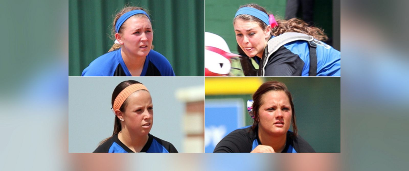 PHOTO: Clockwise from top left, photos released by North Central Texas College in Gainseville, Texas, show softball players Katelynn Woodlee, Jaiden Pelton, Brooke Deckard and Meagan Richardson.
