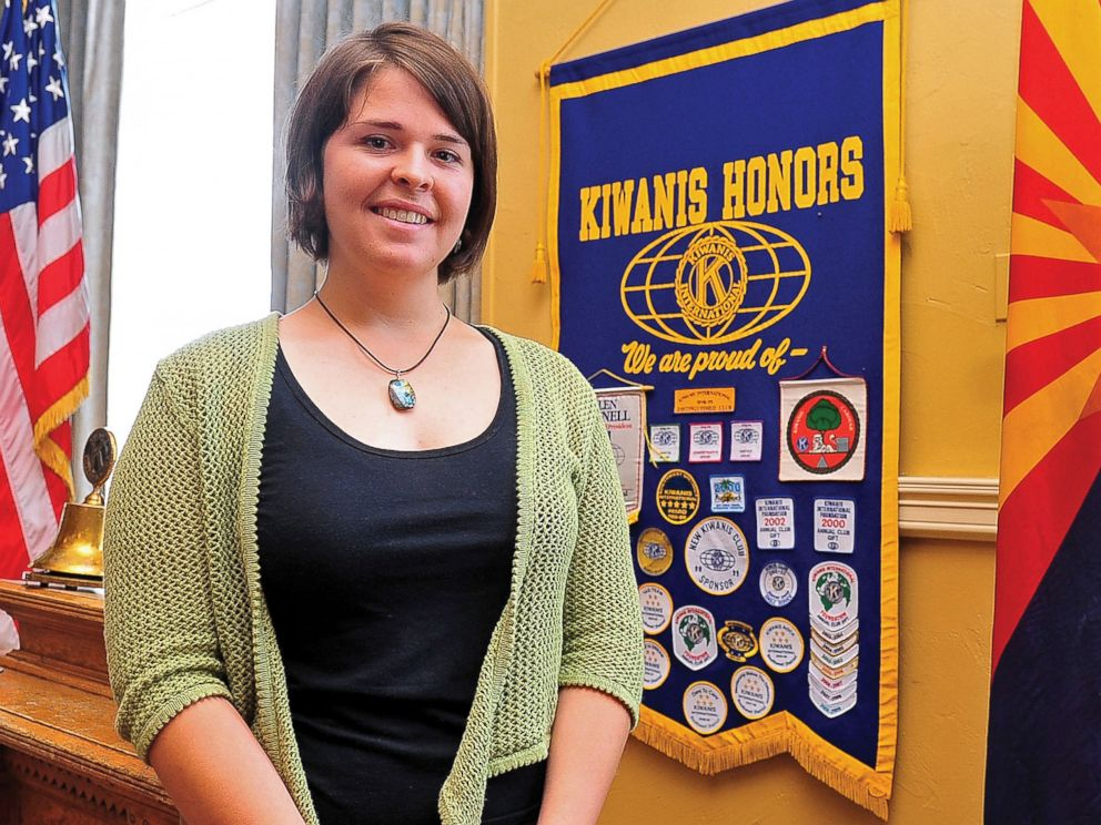 PHOTO: Kayla Mueller poses after speaking to a group in Prescott, Ariz.