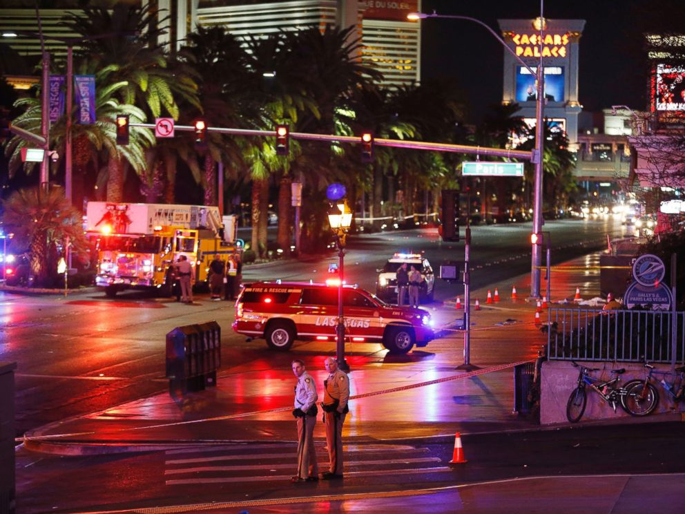 PHOTO: Police and emergency crews respond to the scene of a car accident along Las Vegas Boulevard, Dec. 20, 2015, in Las Vegas.