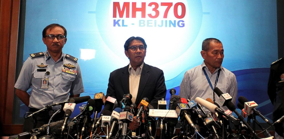 PHOTO: Malaysia Officials give a media briefing on search and recovery efforts  for missing Malaysia Airlines plane, March 10, 2014, in Sepang, Malaysia.