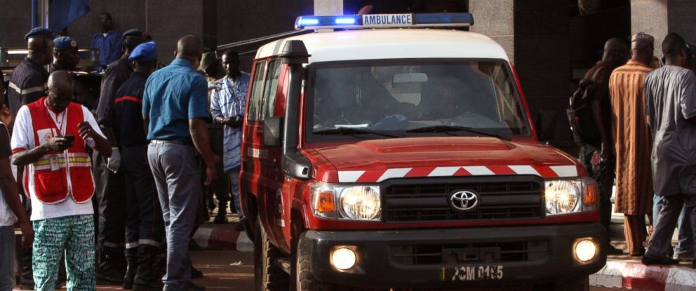 PHOTO: An ambulance seen outside the Radisson Blu hotel, after an attack by gunmen on the hotel, in Bamako, Mali, Nov. 20, 2015.