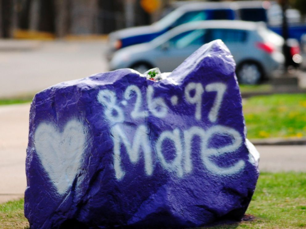 PHOTO: A rock spray-painted by students in memory of 16-year-old stabbing victim Maren Sanchez sits outside Jonathan Law High School in Milford, Conn. on Friday, April 25, 2014.