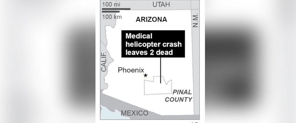 PHOTO:A map shows the location of the medical helicopter crash in Pinal County, Ariz.