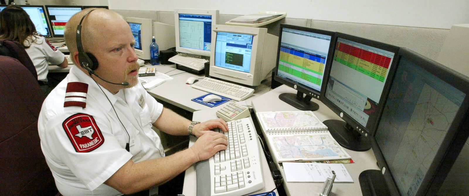 PHOTO: A MedStar dispatcher answers a call, March 17, 2005.