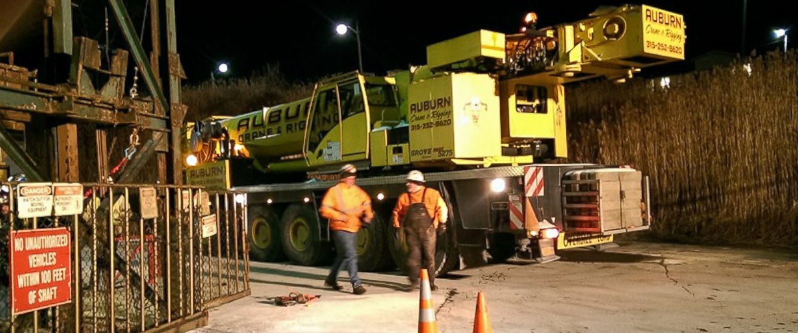 PHOTO:This photo provided by the Ithaca Fire Department shows a crane that will assist the rescue of seventeen miners stuck in an elevator underground at the Cargill Salt Mine in Lansing, N.Y.,Jan. 7, 2016.