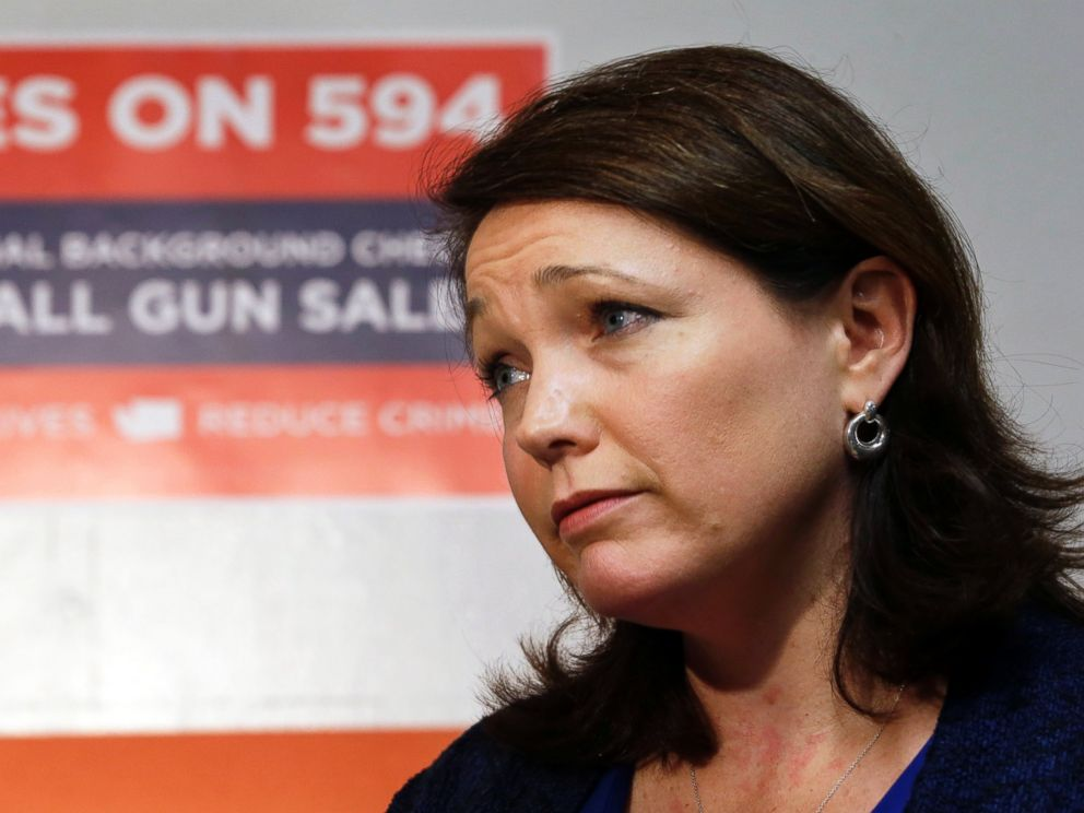 PHOTO: Nicole Hockley is interviewed before working at a phone bank in support of Washingtons Initiative 594, a measure seeking universal background checks on gun sales and transfers, Oct. 27, 2014, in Seattle.