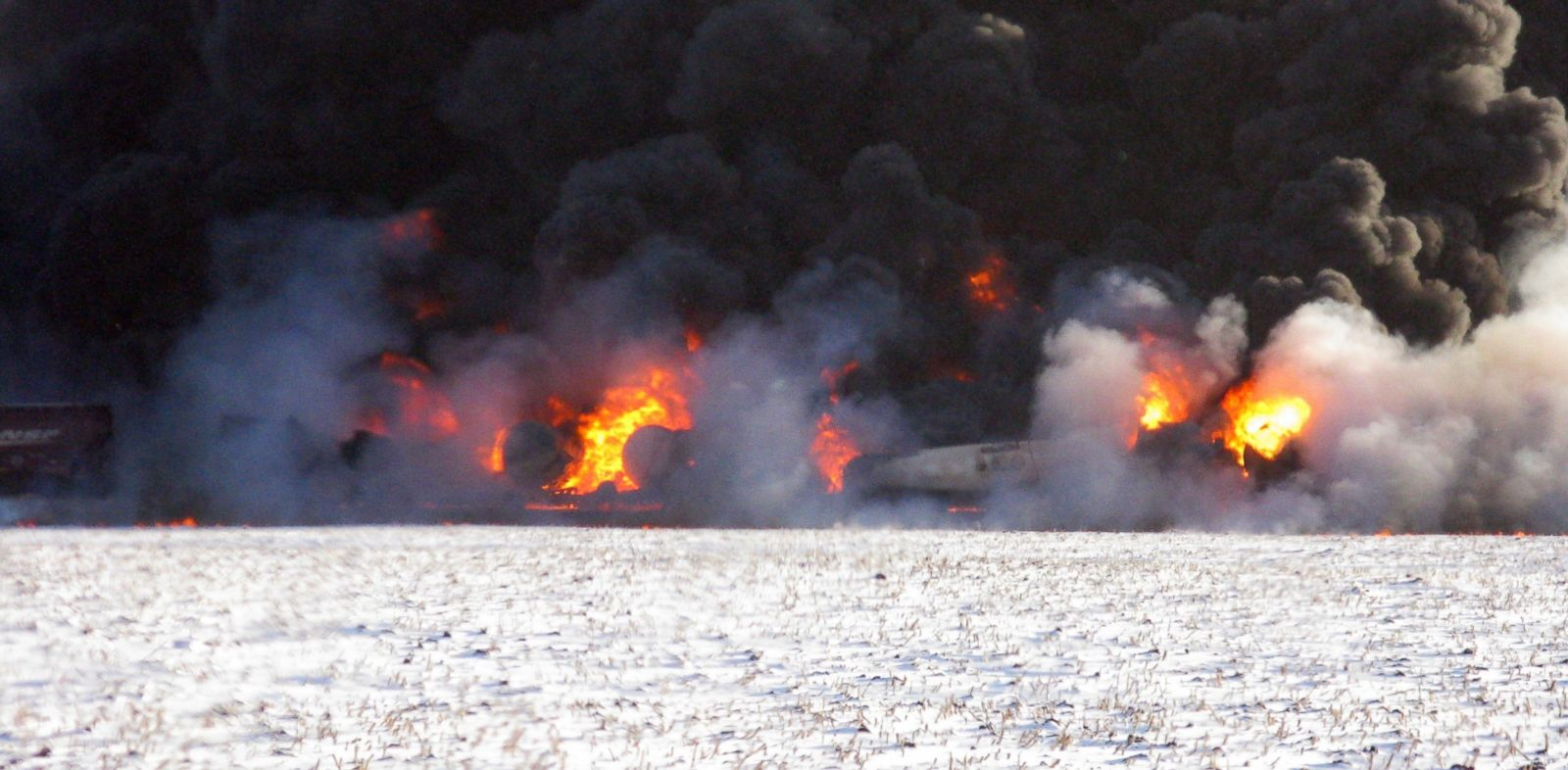 PHOTO: A train derailment and fire occurred west of Casselton, N.D., Dec. 30, 2013.