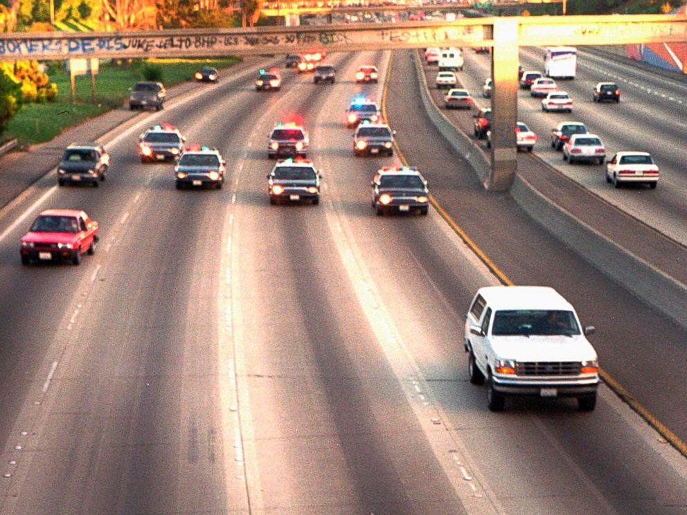 PHOTO: In this June 17, 1994 file photo, a white Ford Bronco, driven by Al Cowlings carrying O.J. Simpson, is trailed by Los Angeles police cars as it travels on a Southern California freeway in Los Angeles.