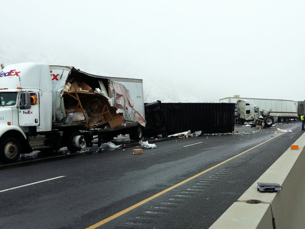 PHOTO: Black ice is believed to be the cause of a freeway pileup involving more than a dozen tractor-trailers on I-84 in Oregon, Jan. 17, 2015.