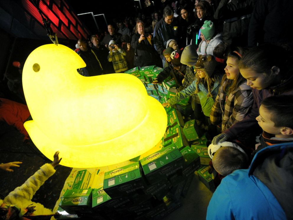 PHOTO: Children gather around a large Peep after it was dropped during a New Years Eve celebration, Dec. 31, 2011, at the Levitt Pavillion on the Steelstacks Campus in Bethlehem, Pa.