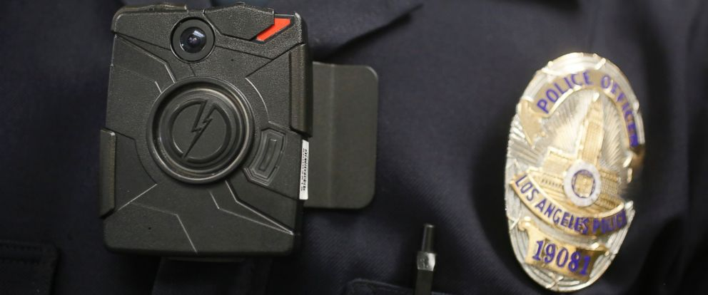PHOTO: This Jan. 15, 2014 file photo shows a Los Angeles Police officer wearing an on-body cameras during a demonstration for media in Los Angeles.