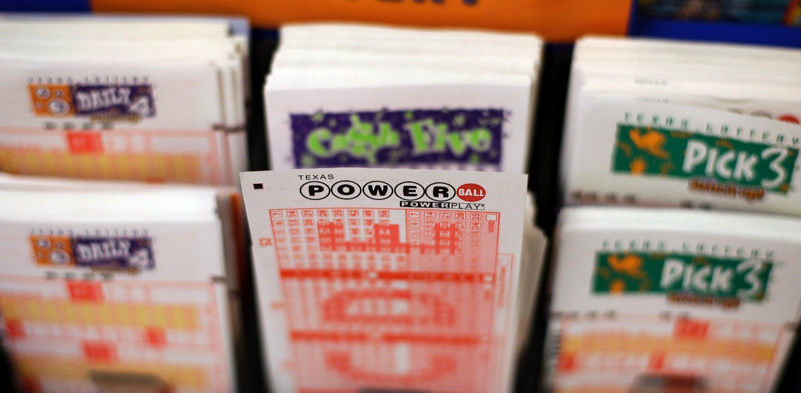 PHOTO: Powerball lottery forms are seen, Wednesday, Aug. 7, 2013, in San Antonio.