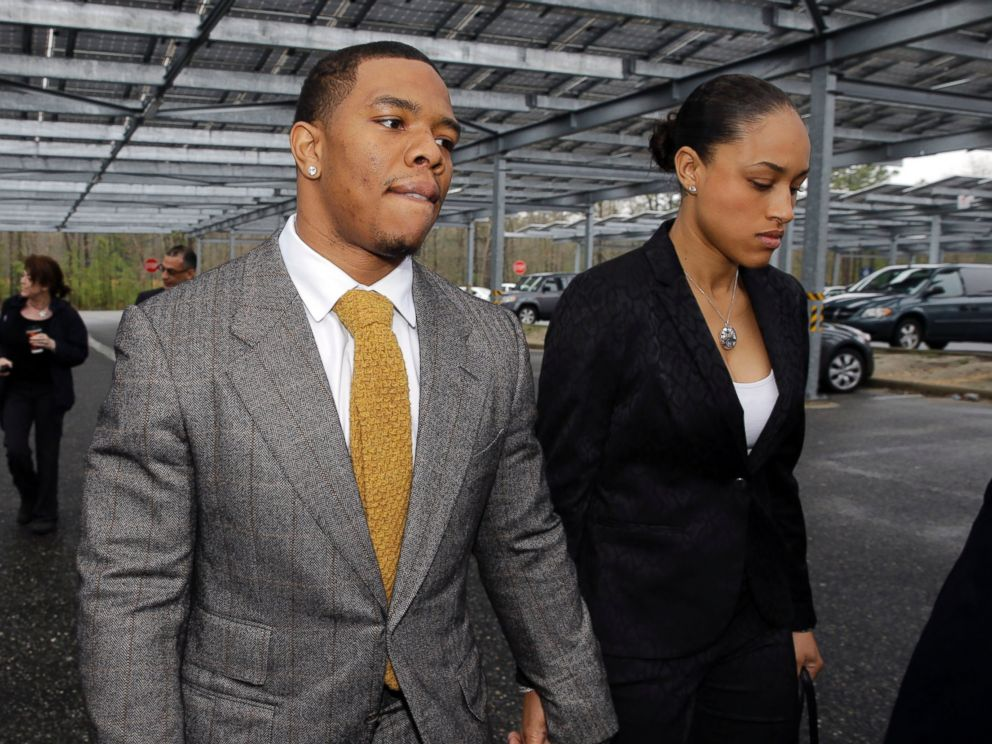 PHOTO: In this May 1, 2014, file photo, Baltimore Ravens football player Ray Rice holds hands with his wife, Janay Palmer, as they arrive at Atlantic County Criminal Courthouse in Mays Landing, N.J.