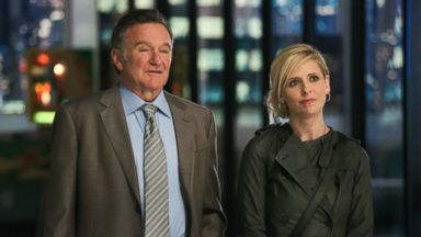 "PHOTO: This publicity image released by CBS shows Robin Williams, left, and Sarah Michelle Gellar in a scene from the pilot episode of ""The Crazy Ones,"" a new CBS comedy premiering in the fall of 2013."