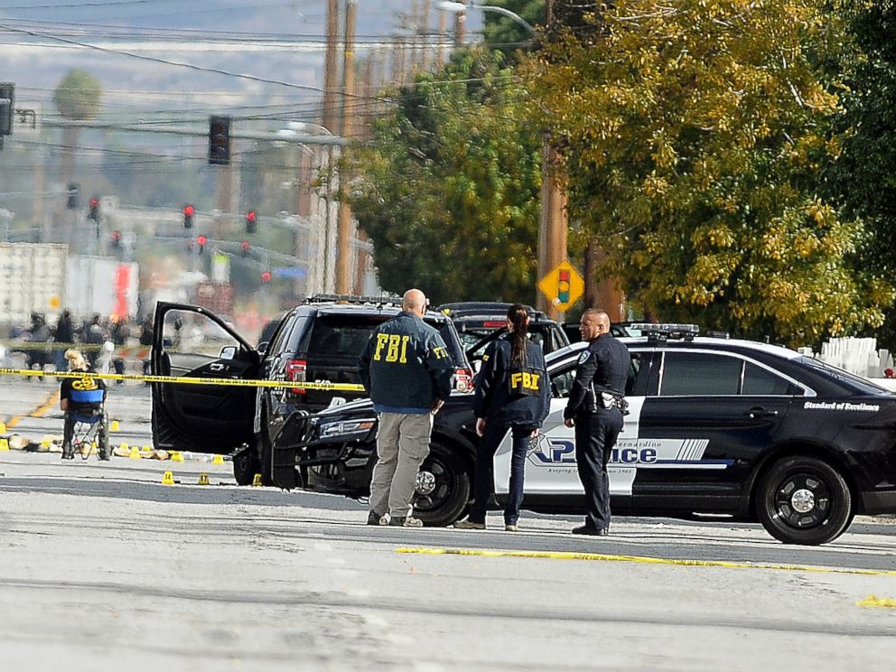 PHOTO: FBI, San Bernardino City and San Bernardino County Sheriffs officials continue documenting and investigating on Dec. 3, 2015, the scene of the shootout between law enforcement officials and the mass shooting suspects which occurred on Wednesday.