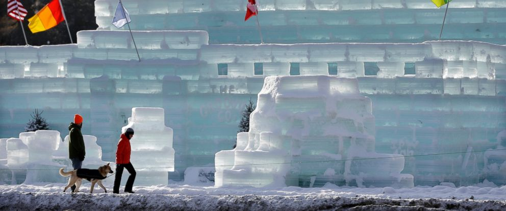 PHOTO: People pass by the Hotel Saranac ice palace in Saranac Lake, N.Y., Feb. 1, 2015.