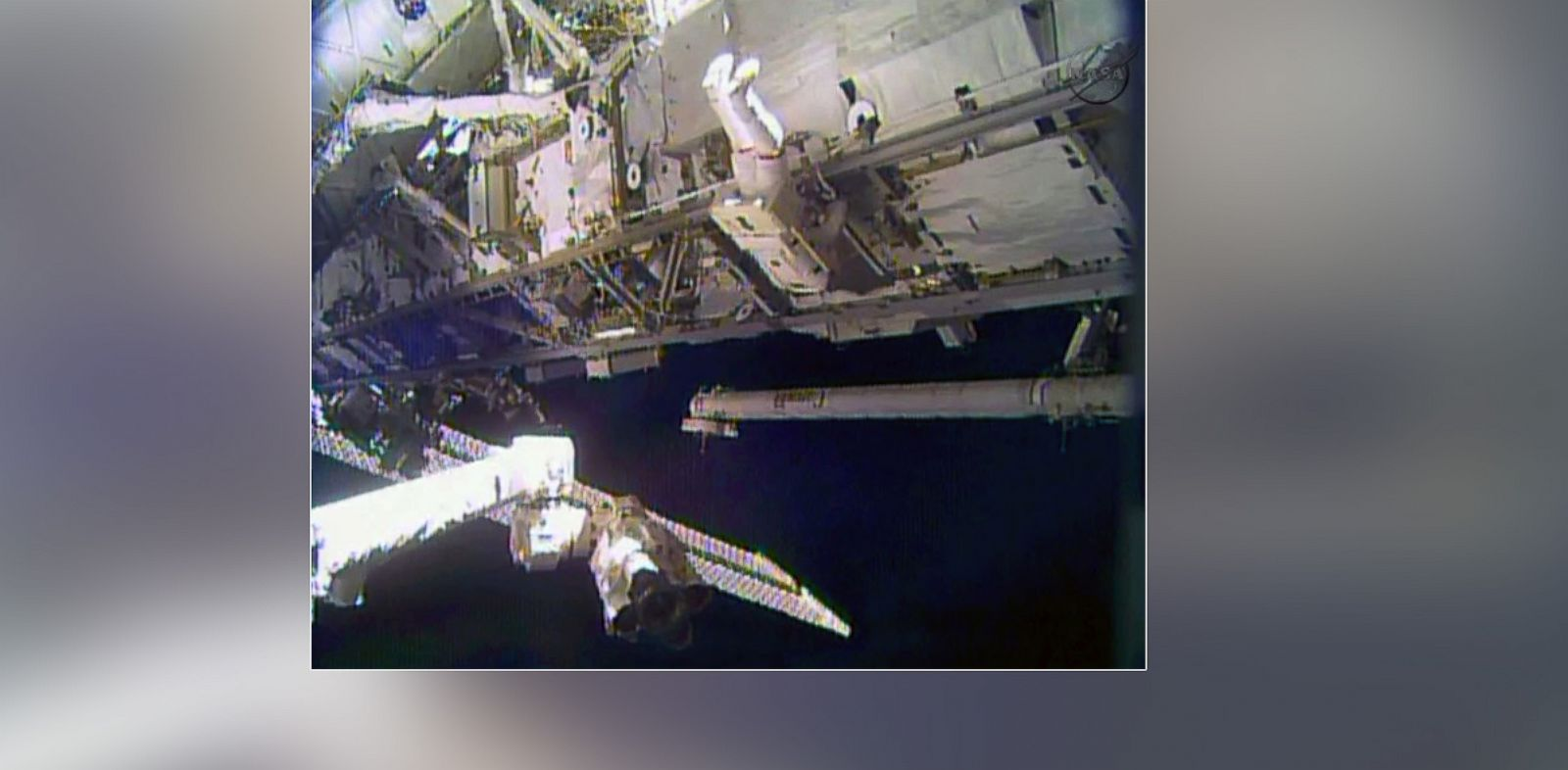 PHOTO: In this image made from video provided by NASA, astronaut Rick Mastracchio performs a space walk outside the International Space Station, Dec. 21, 2013.