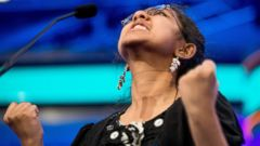 """PHOTO: Ankita Vadiala, 13, of Manassas, Va. reacts positively as she is given the word """"billable"""" to spell during the semifinals of the 2015 Scripps National Spelling Bee, May 28, 2015, in Oxon Hill, Md."""