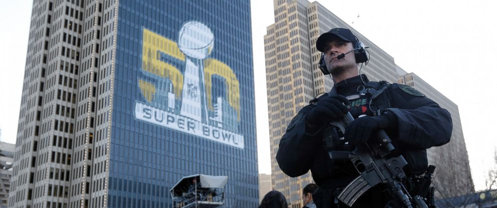 PHOTO: In this Sunday, Jan. 31, 2016 photo, a San Francisco Police tactical unit officer patrols Super Bowl City in San Francisco.