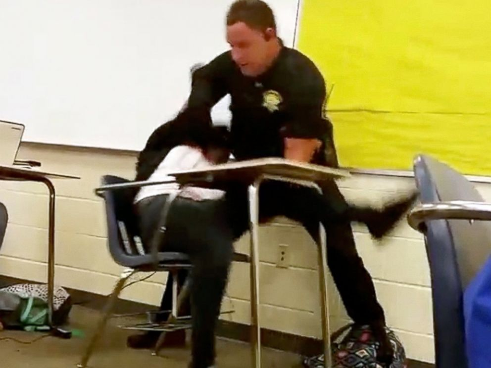 PHOTO:In a photo made from video taken by a Spring Valley High School student, Senior Deputy Ben Fields is seen here inside a classroom on Oct, 26, 2015, in Columbia S.C.