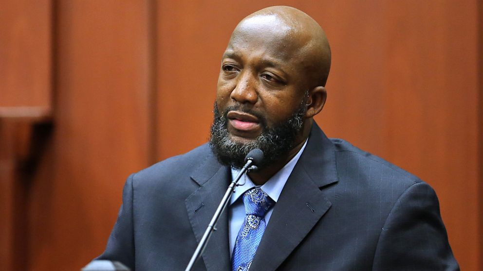PHOTO: Tracy Martin, the father of Trayvon Martin, testifies in George Zimmermans trial at the Seminole