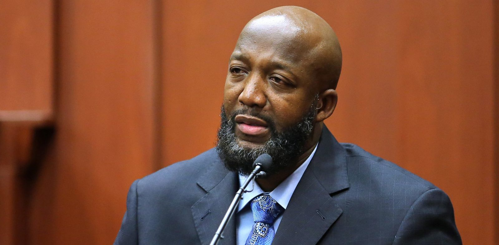 PHOTO: Tracy Martin, the father of Trayvon Martin, testifies in George Zimmermans trial at the Seminole Circuit Court, in Sanford, Fla., July 8, 2013.
