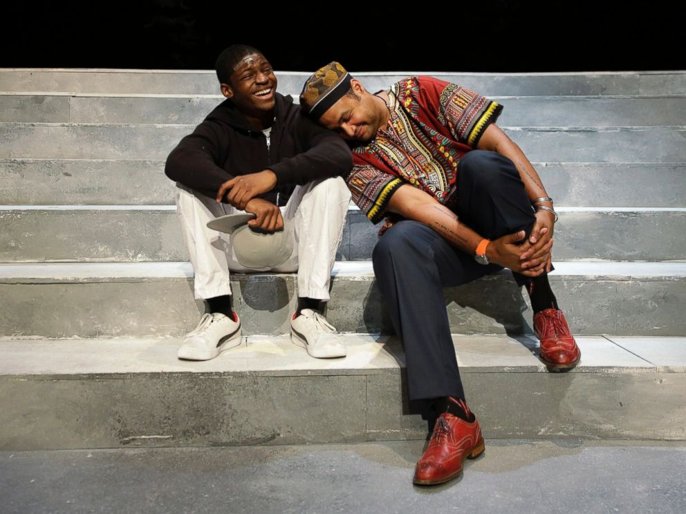 PHOTO: Director Rajendra Ramoon Maharaj, right, leans on actor Amir Randall, who plays Trayvon Martin after a rehearsal for The Ballad of Trayvon Martin at the New Freedom Theatre in Philadelphia, May 10, 2016.