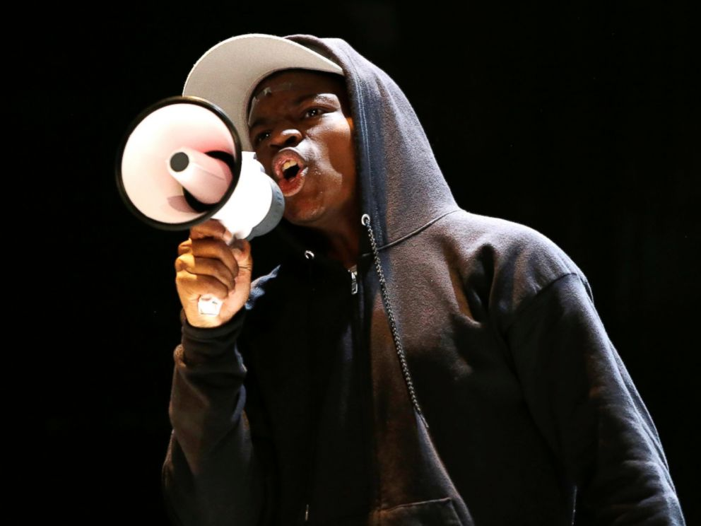 PHOTO: Amir Randall, playing Trayvon Martin, acts out a scene during a rehearsal for The Ballad of Trayvon Martin at the New Freedom Theatre in Philadelphia, May 10, 2016.