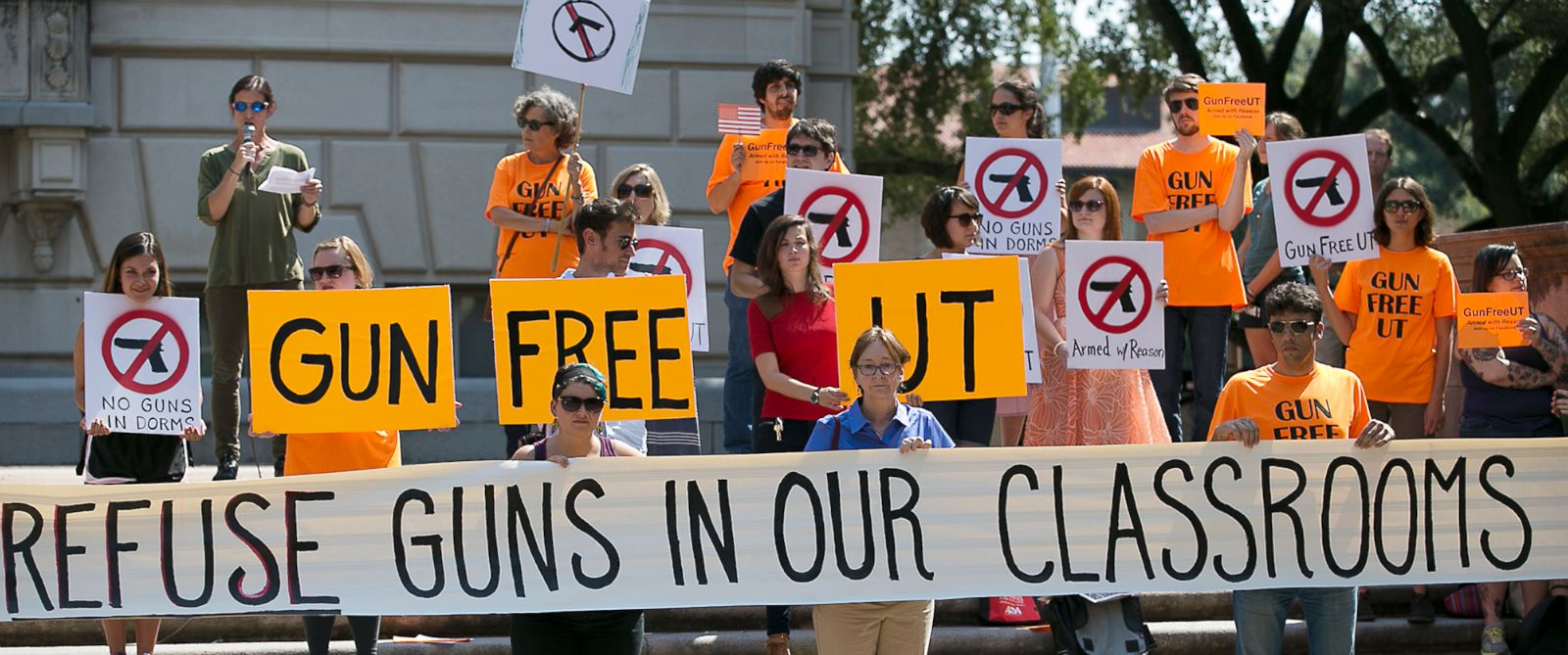 PHOTO: Protesters gather on the West Mall of the University of Texas campus to oppose a new state law that expands the rights of concealed handgun license holders to carry their weapons on public college campuses, Oct. 1, 2015.