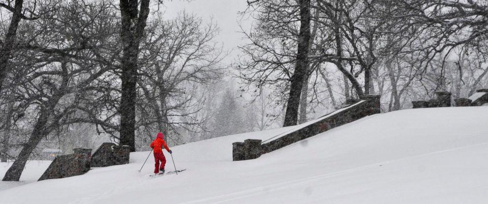PHOTO: Wren Scott-Lumbar, 11, skis at Hester Park, Nov. 10, 2014, in St. Cloud, Minn., during the regions first major snowfall of the season.