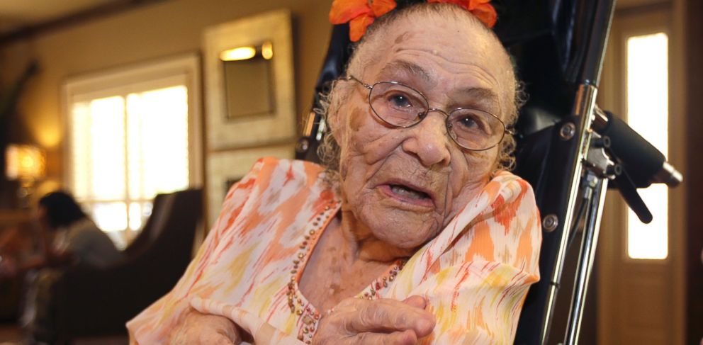 In this Thursday, July 3, 2014, photo, Gertrude Weaver poses at Silver Oaks Health and Rehabilitation Center in Camden, Ark., a day before her 116th birthday. With the death of a 117-year-old woman in Japan, Weaver became the worlds oldest person.