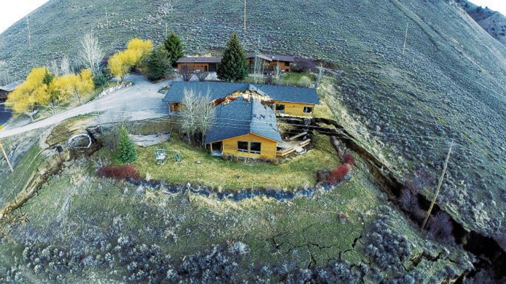 PHOTO: A home damaged by a landslide Friday, April 18, 2014 in Jackson, Wyo. is shown in this aerial image provided by Tributary En
