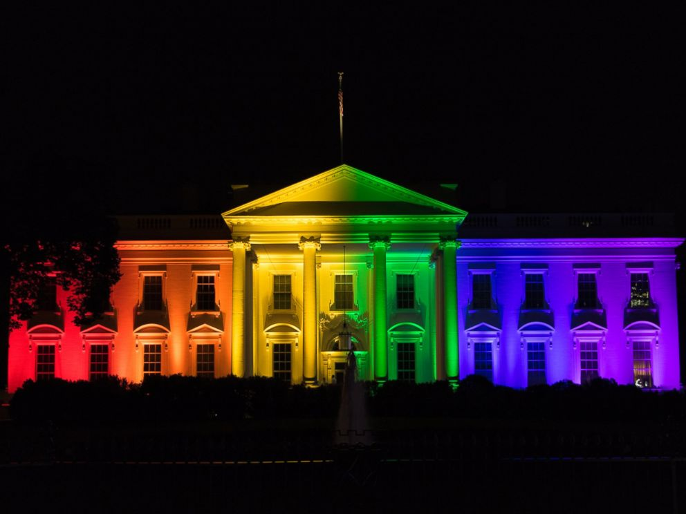 PHOTO:The front of the White House is lit in the color of the rainbow, June 26, 2015, after the United States Supreme Court issued the decision in the case of Obergefell v. Hodges ruling that same-sex marriage is legal in all states.