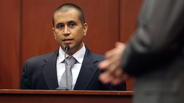 PHOTO: George Zimmerman, left, answers a question from attorney Mark O'Mara in the courtroom, April 20, 2012, during a bond hearing in Sanford, Fla.