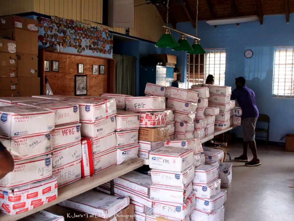 PHOTO: Boxes shipped to the U.S. Virgin Islands through the Adopt a Family organization.