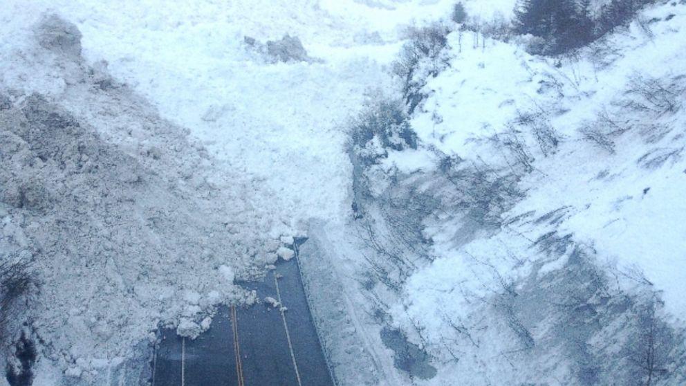 PHOTO: Snow and ice cover Richardson Highway near Valdez, Alaska, Jan. 25, 2014.