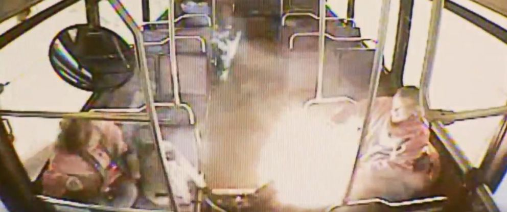 Surveillance footage captures a mans electronic cigarette exploding while he was riding a bus in Fresno, Calif., on Dec. 21, 2016.
