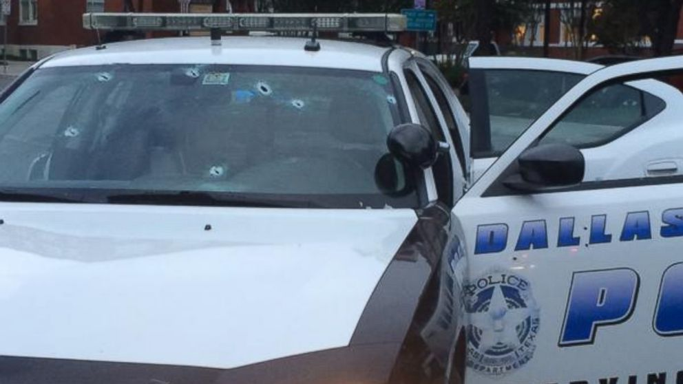 PHOTO: A June 13, 2015, photo tweeted by the Dallas Police Department showing a squad car that was fired upon.