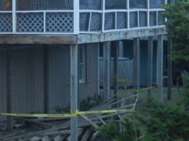 PHOTO: Scene from a deck collapse of a beach house in Emerald Isle, North Carolina on July 4, 2015.