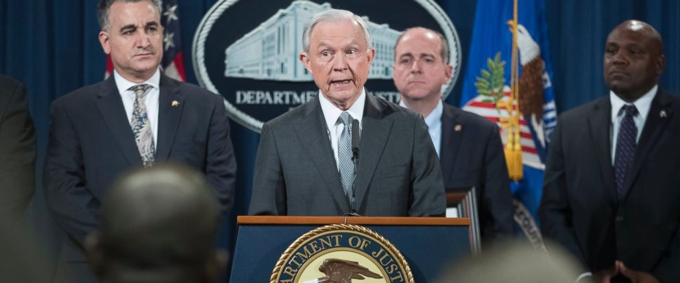 PHOTO: U.S. Attorney General Jeff Sessions delivers remarks at an event where he received an award from the Sergeants Benevolent Association of New York City, at the Justice Department in Washington, on May 12, 2017.