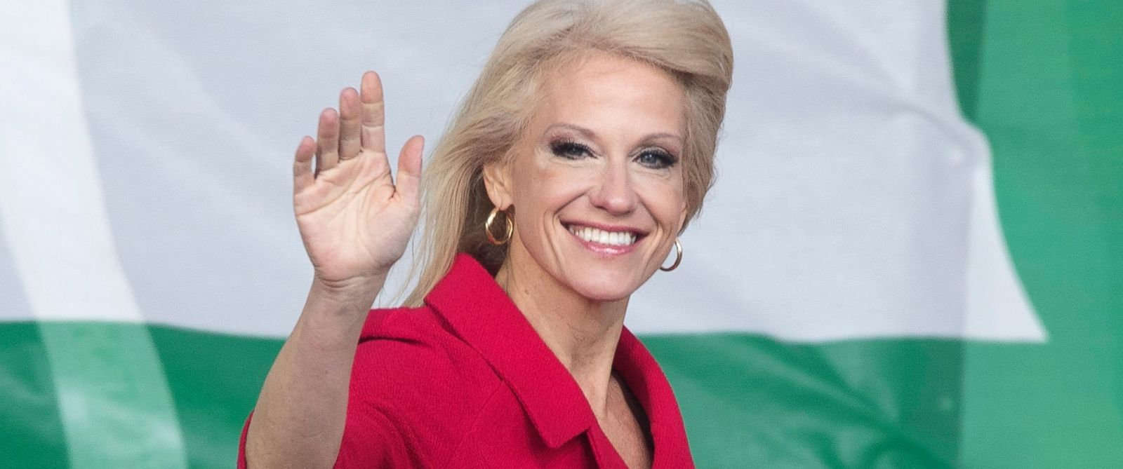 PHOTO: Kellyanne Conway waves before delivering remarks at the 44th March for Life, on the National Mall in Washington, D.C., Jan. 27, 2017.