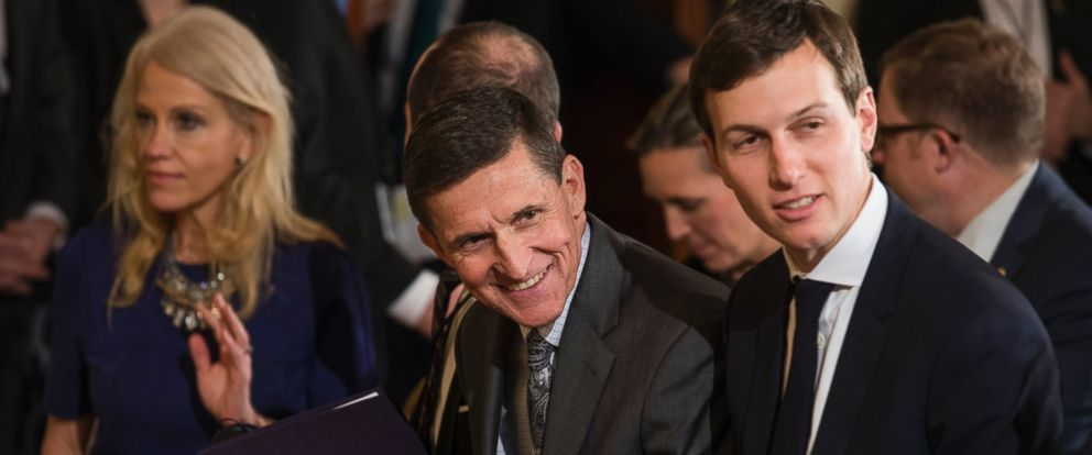 PHOTO: Then-National Security Advisor Michael Flynn and Jared Kushner attend a press conference with President Donald J. Trump and Canadian Prime Minister Justin Trudeau in the East Room of the White House in Washington, Feb. 13, 2017.