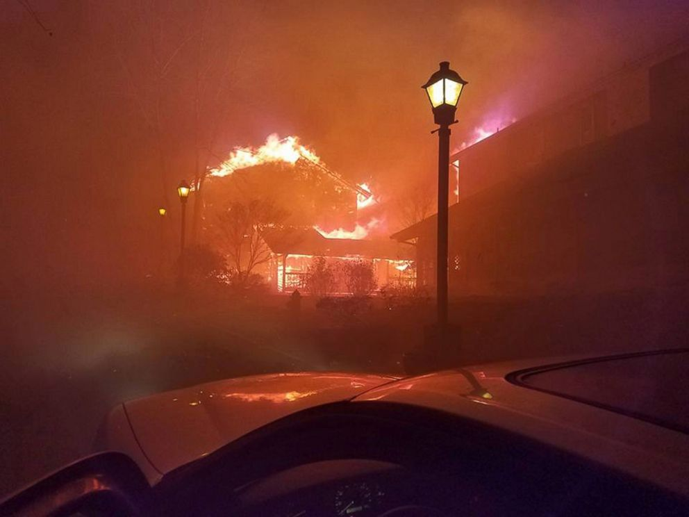 PHOTO: A school building burns as wildfires move through Gatlinburg, Tennessee, Nov. 28, 2016.