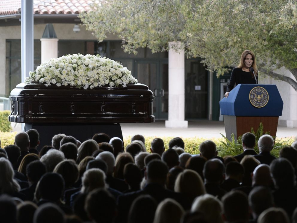 PHOTO: Patti Davis, the daughter of former US First Lady Nancy Reagan, speaks during funeral services at the Ronald Reagan Presidential Library in Simi Valley, California, March 11, 2016.
