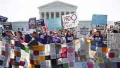PHOTO: Pro-choice supporters rally outside the Supreme Court, June 27, 2016, before the courts ruling in Whole Womans Health v. Hellerstedt, a case that imposes heavy restrictions on abortion clinics in Texas.