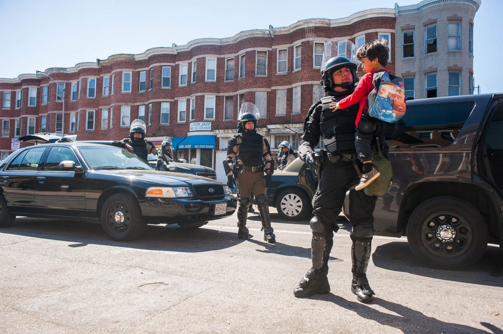 Baltimore police officers in riot gear push protestors back along - Baltimore Police Officers In Riot Gear Push Protestors Back Along 58