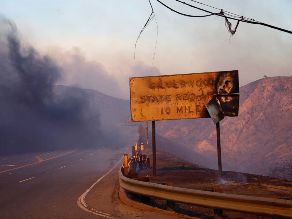 PHOTO: A melted sign shows the damage after a wildfire swept through Cajon Junction, California, Aug. 16, 2016.