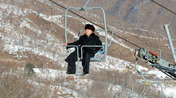 EPA kim jon un ski lift jef 131231 16x9 608 Kim Jong uns Lonely Ski Lift Ride at Dream Resort