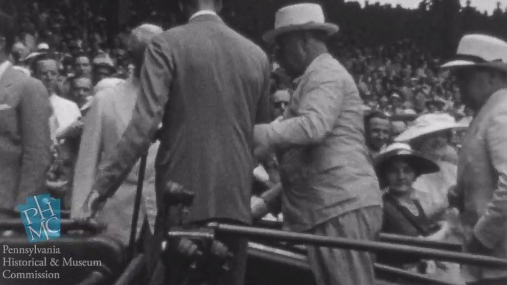 PHOTO: President Franklin D. Roosevelt is seen walking up a ramp at the 1937 Major League Baseball All-Star Game. The footage was unveiled on May 15, 2014.